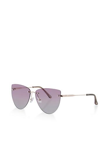 Cat Eye Rimless Sunglasses,GRAY,large