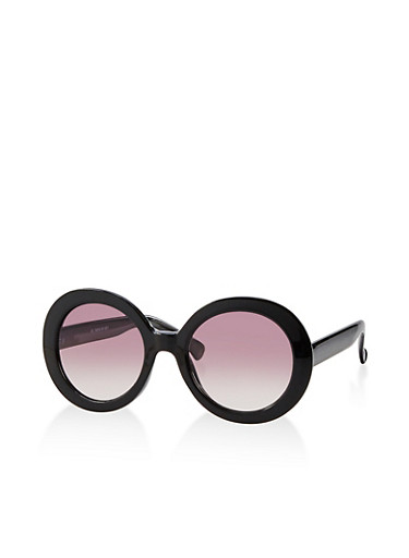 Round Plastic Colored Sunglasses,BLACK,large
