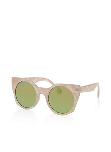 Marbled Cat Eye Sunglasses,BLUSH,large