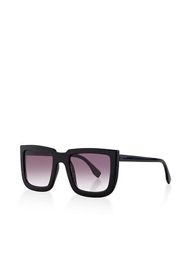 Square Plastic Frame Sunglasses,BLACK,large