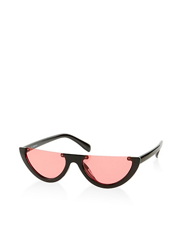 Colored Half Rim Glasses,BLACK,large