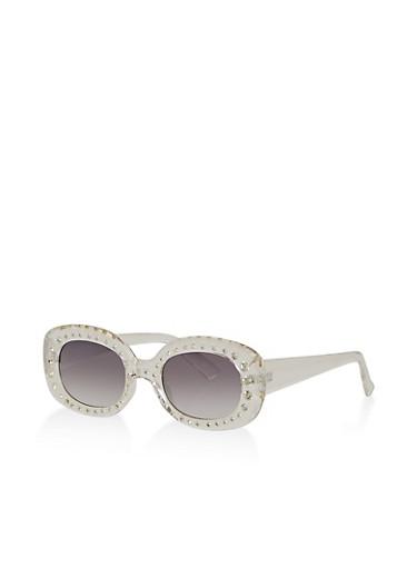 Rhinestone Plastic Colored Sunglasses,GRAY,large