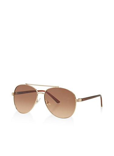 Aviator Sunglasses with Top Bar,GOLD,large