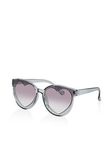 Plastic Heart Lens Sunglasses,GRAY,large