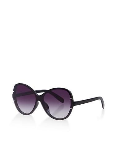 Shield Rimless Sunglasses,BLACK,large