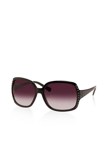 Rhinestone Trim Plastic Sunglasses,BLACK,large