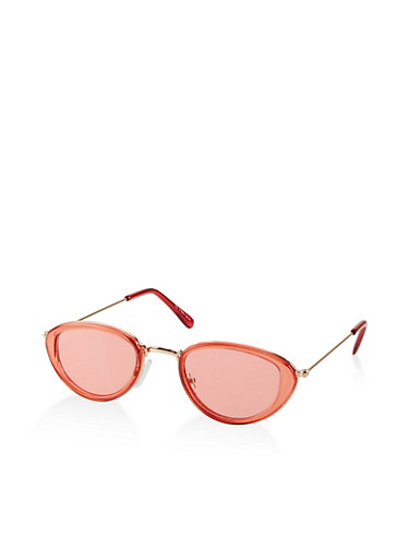 Small Oval Colored Sunglasses,RED,large
