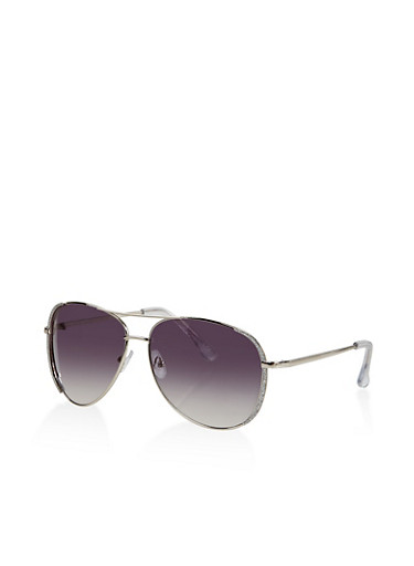 Glitter Detail Aviator Sunglasses,SILVER,large