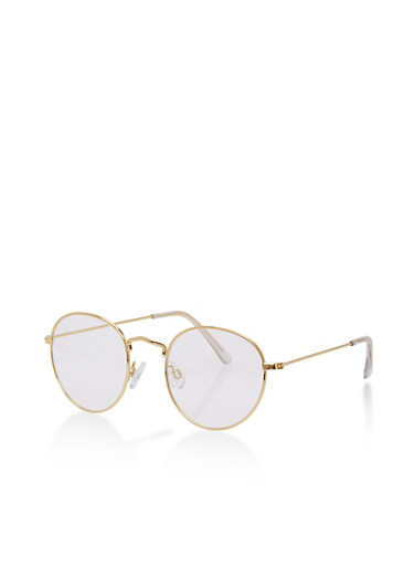 Small Round Clear Glasses,GOLD,large