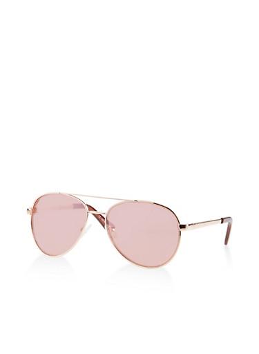 Mirrored Aviator Sunglasses   1134004261081,ROSE,large