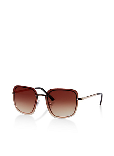 Rimless Metallic Nose Sunglasses,BROWN,large