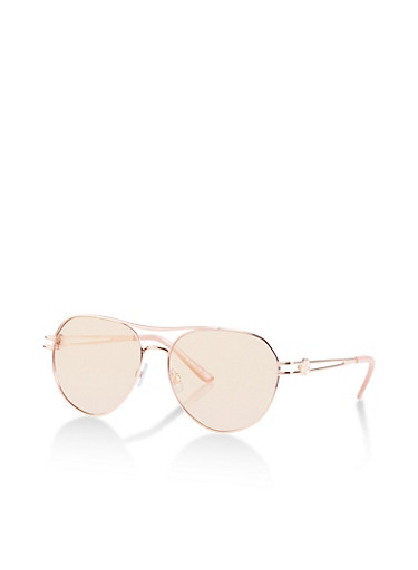 Mirrored Open Top Aviator Sunglasses,PINK,large