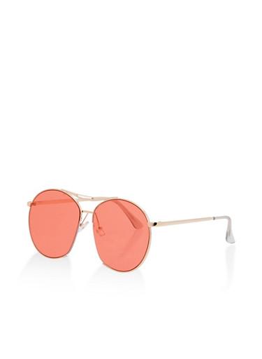 Metallic Oversized Top Bar Sunglasses,ROSE,large