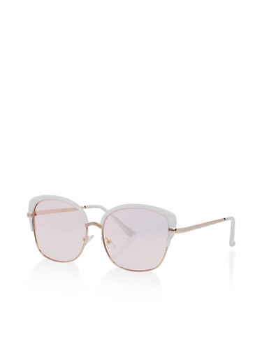 Painted Edge Metallic Sunglasses,WHITE,large