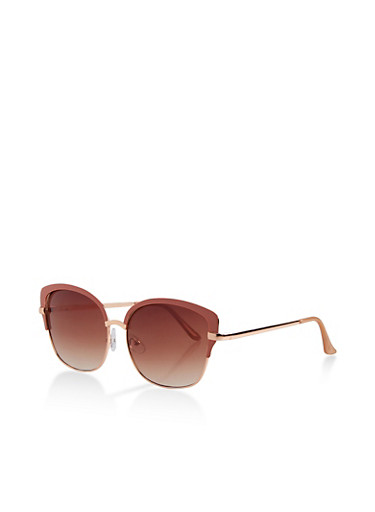 Painted Browline Metallic Sunglasses,BLUSH,large