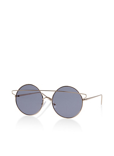Colored Circular Sunglasses,GRAY,large