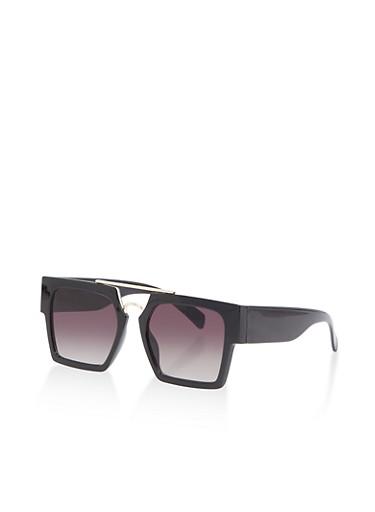 Square Metallic Top Bar Sunglasses,BLACK,large