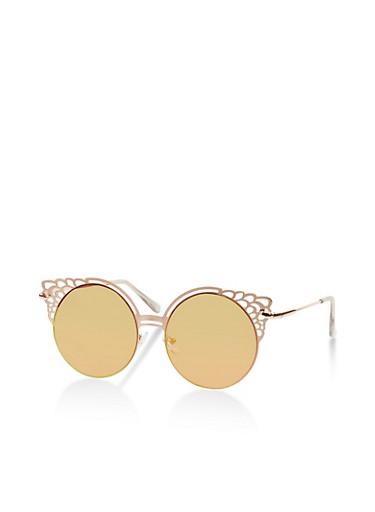 Mirrored Circular Metallic Detail Sunglasses,PINK,large