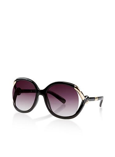 Plastic Open Metallic Side Sunglasses,BLACK,large
