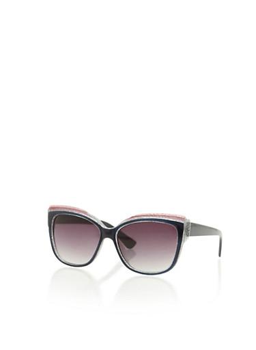 Plastic Frame Square Sunglasses,BLACK,large