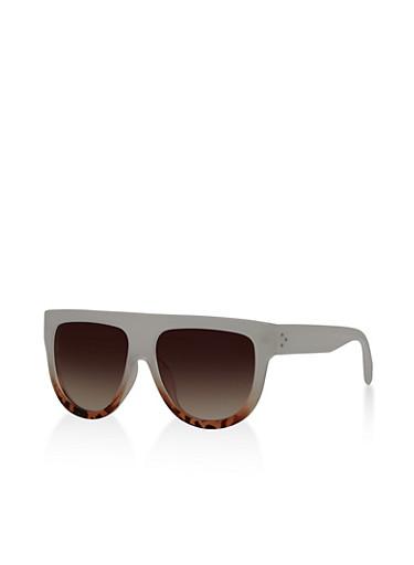 Two Tone Plastic Shield Sunglasses   Tuggl