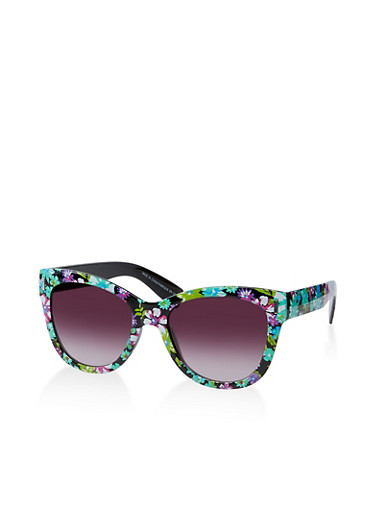 Flower Print Sunglasses,BLACK,large
