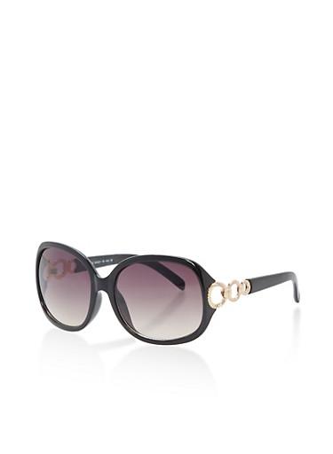 Oversized Sunglasses with Metallic Arm Detail,BLACK,large
