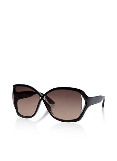 Cut Out Side Criss Cross Sunglasses,BLACK,large