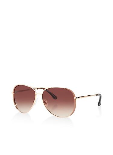Metallic Aviator Sunglasses | 1134004265700,BROWN,large