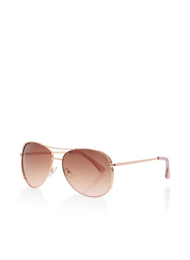 Metallic Aviator Sunglasses,BROWN,large