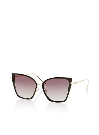 Metallic Cat Eye Sunglasses | 1134004266451,BLACK,large