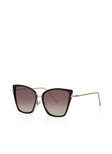 Metallic Mirrored Cat Eye Sunglasses,BLACK,large