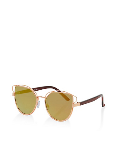 Double Wire Metallic Frame Sunglasses,ROSE/GOLD,large