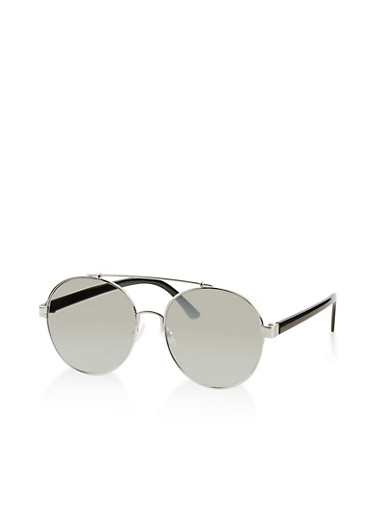 Round Top Bar Metallic Sunglasses,SILVER,large