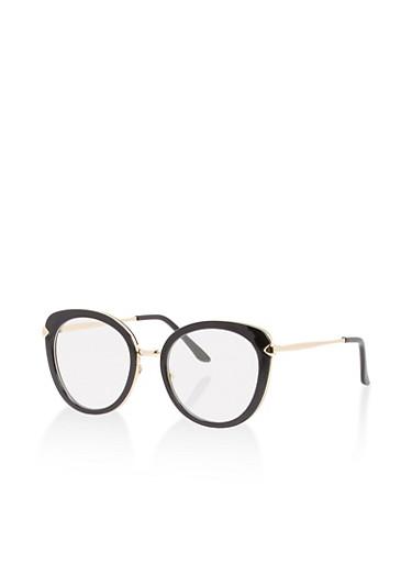 Metallic Frame Glasses,BLACK,large
