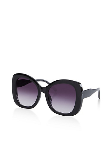 Thick Plastic Sunglasses,BLACK,large