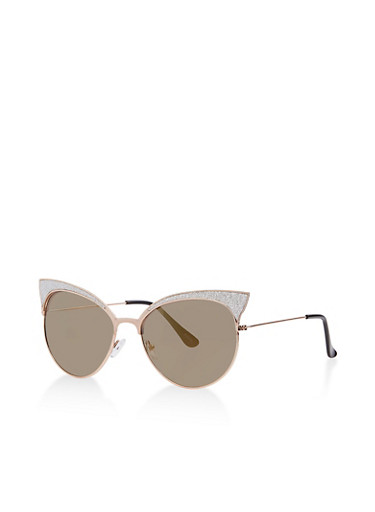 Glitter Cat Eye Mirrored Sunglasses,SILVER,large