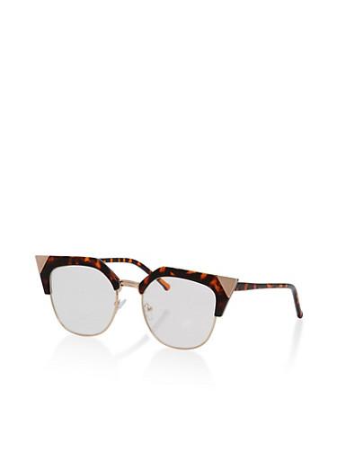 Cat Eye Browline Glasses,GOLD/TORT,large