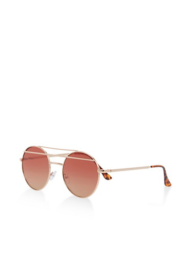 Circular Double Top Bar Sunglasses,ROSE,large