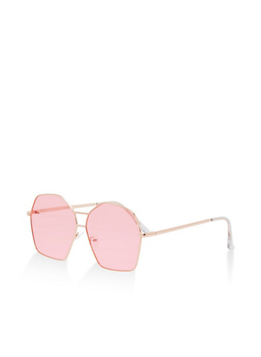 Geometric Aviator Sunglasses,ROSE,large