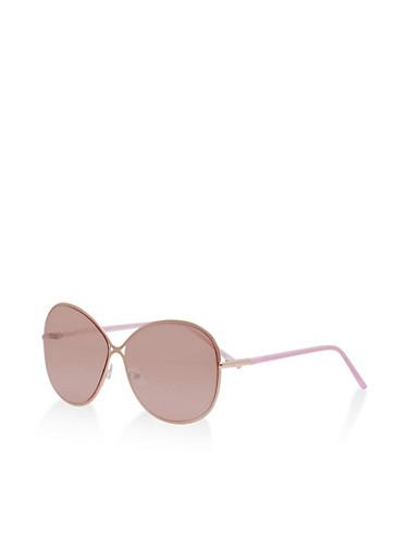 Mirrored Metallic Criss Cross Sunglasses,ROSE,large