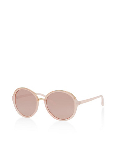 Round Sunglasses with Metallic Detail,PINK/PINK,large