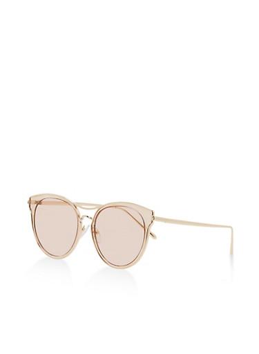 Circular Metallic Frame Sunglasses,BROWN,large