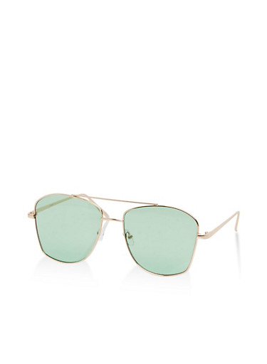 Metallic Geometric Top Bar Sunglasses,MINT,large