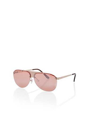Metallic Detail Aviator Sunglasses,ROSE/PINK,large