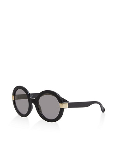 Mirrored Round Frame Sunglasses,BLACK,large