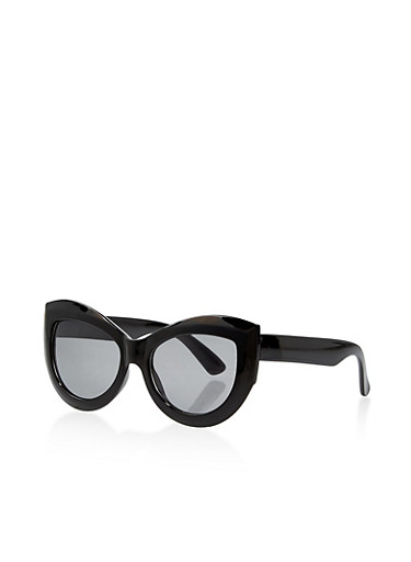 Thick Frame Cat Eye Sunglasses,BLACK,large
