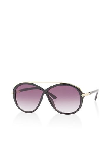 Criss Cross Metallic Cross Bar Sunglasses,BLACK,large