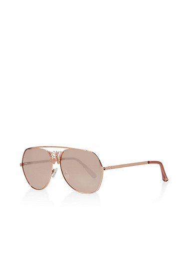 Butterfly Detail Aviator Sunglasses,ROSE,large