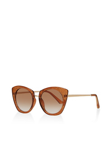Glitter Cat Eye Sunglasses | 1134056176284,BROWN,large